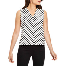 Buy Jaeger Chevron Stripe Cotton Top, Ivory/Black Online at johnlewis.com