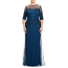 Buy Adrianna Papell Plus Size Beaded Illusion Gown, Deep Blue Online at johnlewis.com