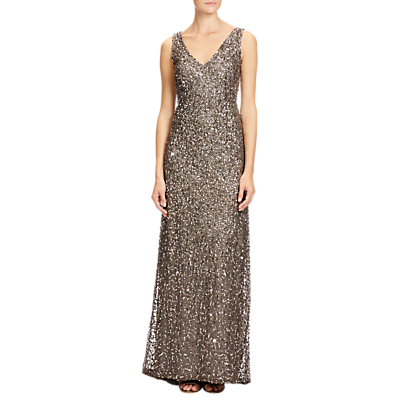 Adrianna Papell Petite V Neck Crunchy Beaded Gown, Lead