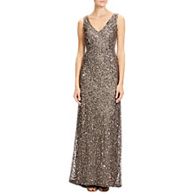 Buy Adrianna Papell Petite V Neck Crunchy Beaded Gown, Lead Online at johnlewis.com