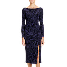 Buy Adrianna Papell Flock Velvet Midi Dress, Black/Navy Online at johnlewis.com