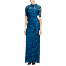 Buy Adrianna Papell Guipure Lace Round Neck Floor Length Dress, Evening Sky Online at johnlewis.com