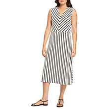 Buy Jaeger Breton Stripe Fit and Flare Dress, Ivory/Black Online at johnlewis.com
