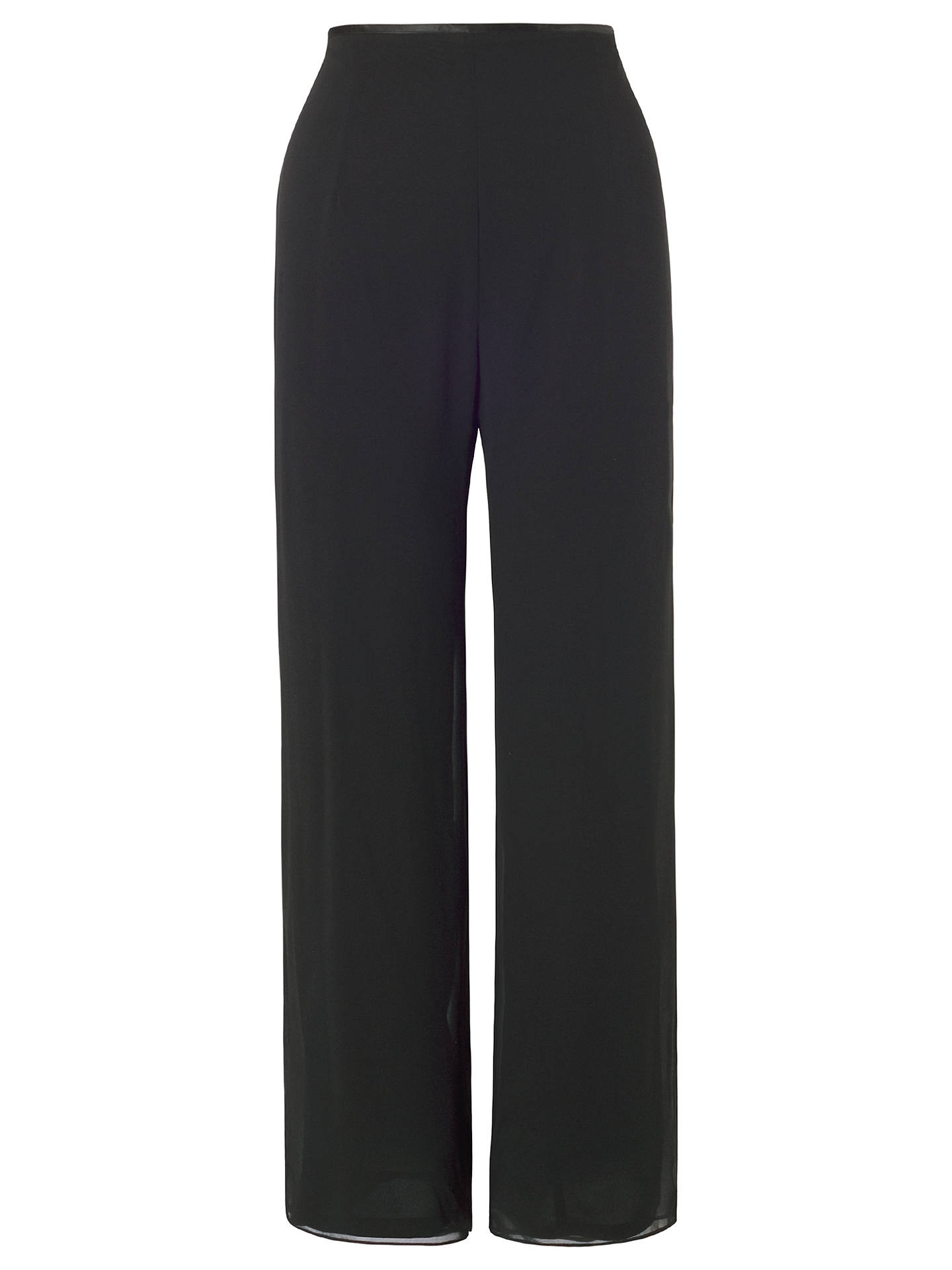 BuyChesca Satin Trim Chiffon Trousers, Black, 12 Online at johnlewis.com