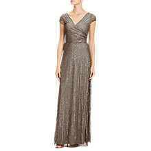 Buy Adrianna Papell Petite Wrap Beaded Gown, Lead Online at johnlewis.com
