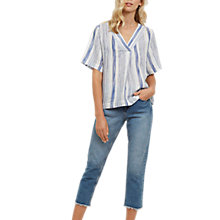 Buy Jaeger Stripe Linen Top, Blue/White Online at johnlewis.com
