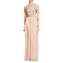 Buy Adrianna Papell Beaded Bodice Godet Ball Gown, Pink Online at johnlewis.com