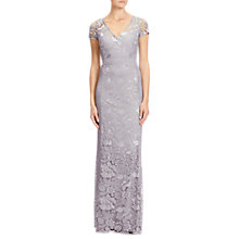 Buy Adrianna Papell Guipure Long Dress, Silver Online at johnlewis.com