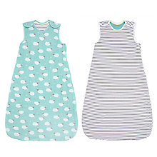 Buy John Lewis Baby Sheep Stripe Sleep Bag, Pack of 2, 2.5 Tog, Turquoise Online at johnlewis.com