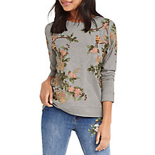 Buy Oasis Blossom Embroidered Sweater, Multi/Grey Online at johnlewis.com