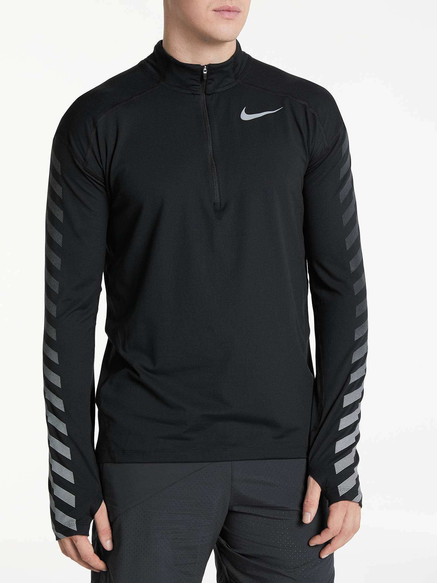 34da834b Nike Dry Element Long Sleeve 1/2 Zip Running Top, Black at John ...