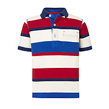 Buy John Lewis Boys' Wide Stripe Polo Shirt, Blue/Red Online at johnlewis.com