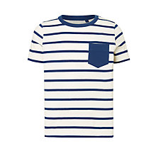 Buy John Lewis Boys' Contrast Stripe T-Shirt, Blue/White Online at johnlewis.com