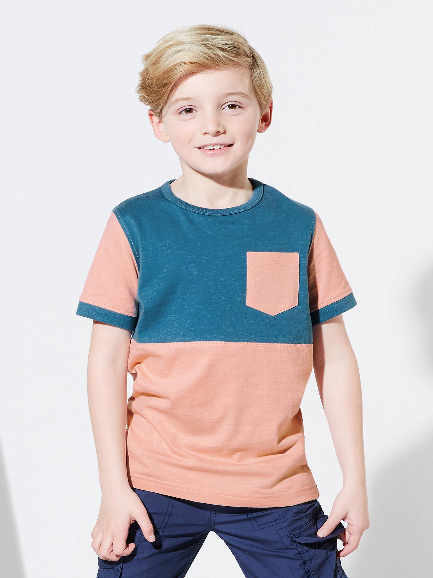 John Lewis Boys Colour Block T Shirt Pink Blue 2 Years