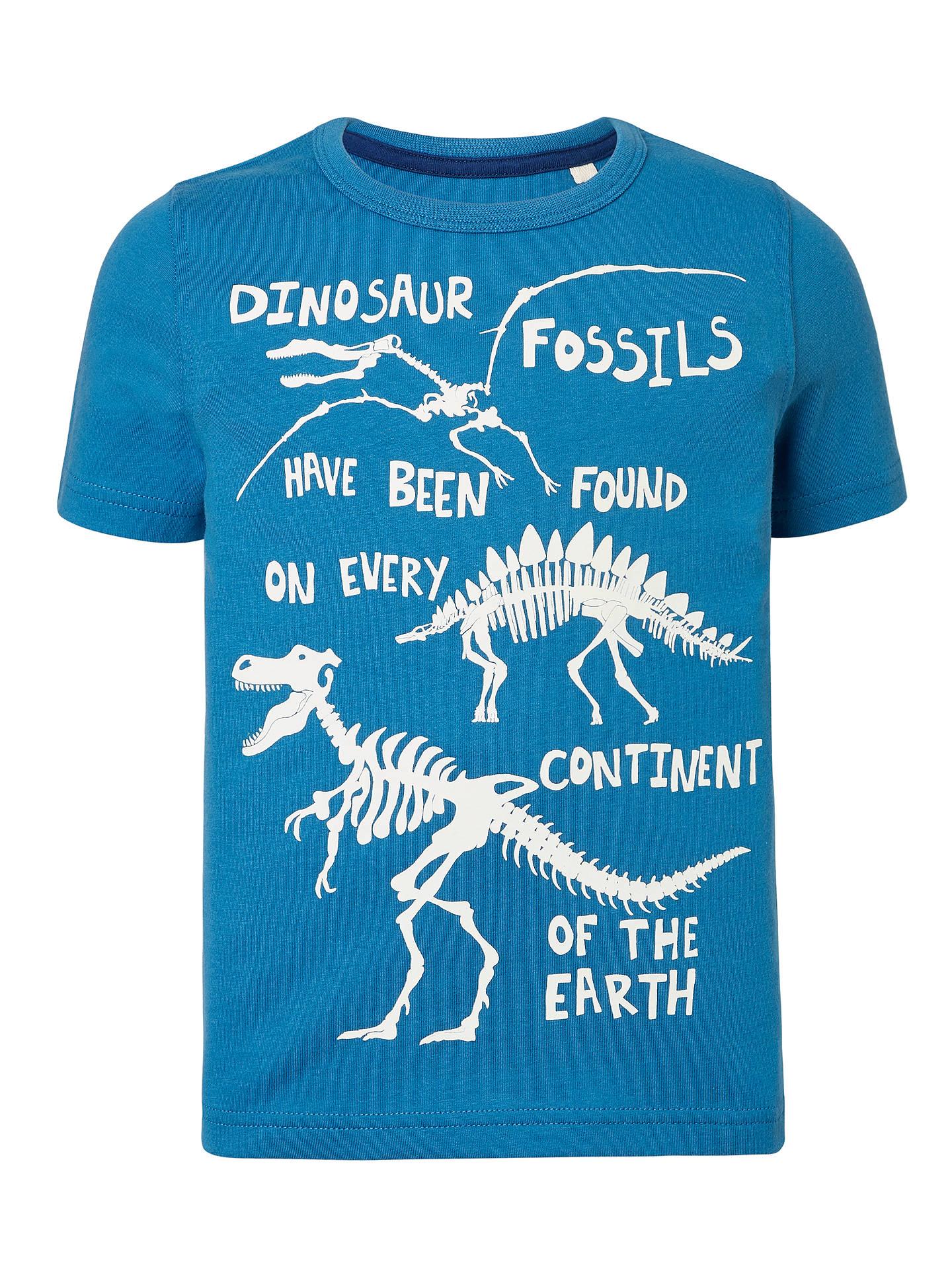 0f23efdf John Lewis & Partners Boys' Glow In The Dark Dinosaur T-Shirt, Blue ...