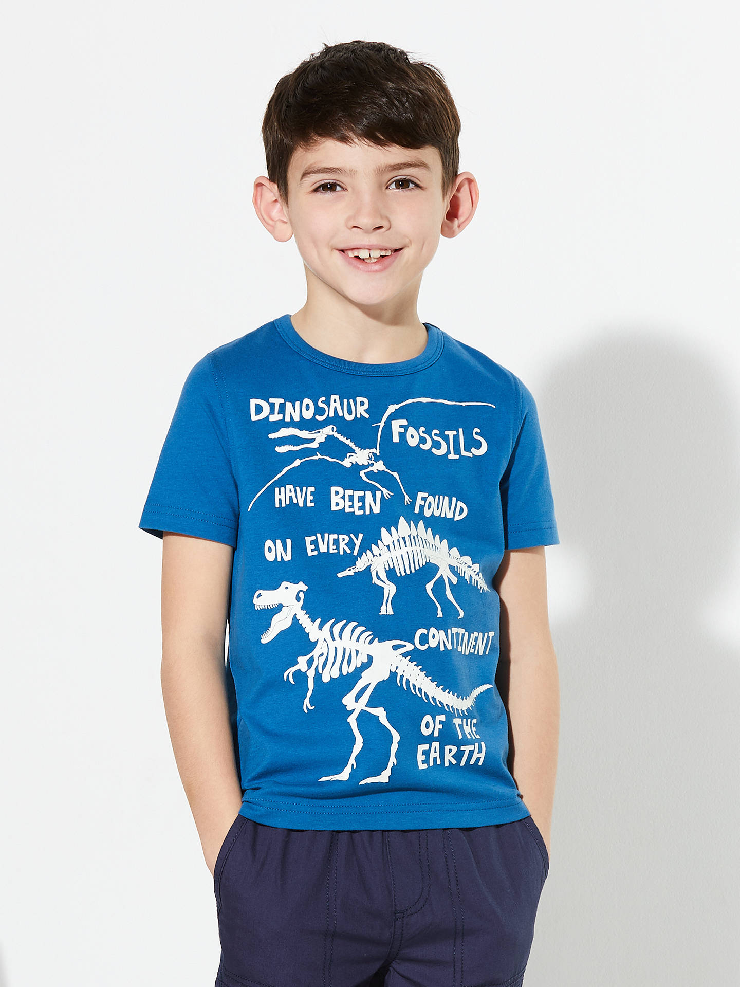 2d539e7d ... Buy John Lewis & Partners Boys' Glow In The Dark Dinosaur T-Shirt, ...