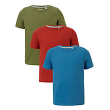 Buy John Lewis Boys' Plain T-Shirts, Pack of 3, Multi Online at johnlewis.com