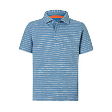 Buy John Lewis Boys' Textured Stripe Polo Top, Blue Online at johnlewis.com