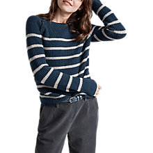 Buy Seasalt Kelson Striped Lambswool Jumper, Strong Strokes Night Aran Online at johnlewis.com