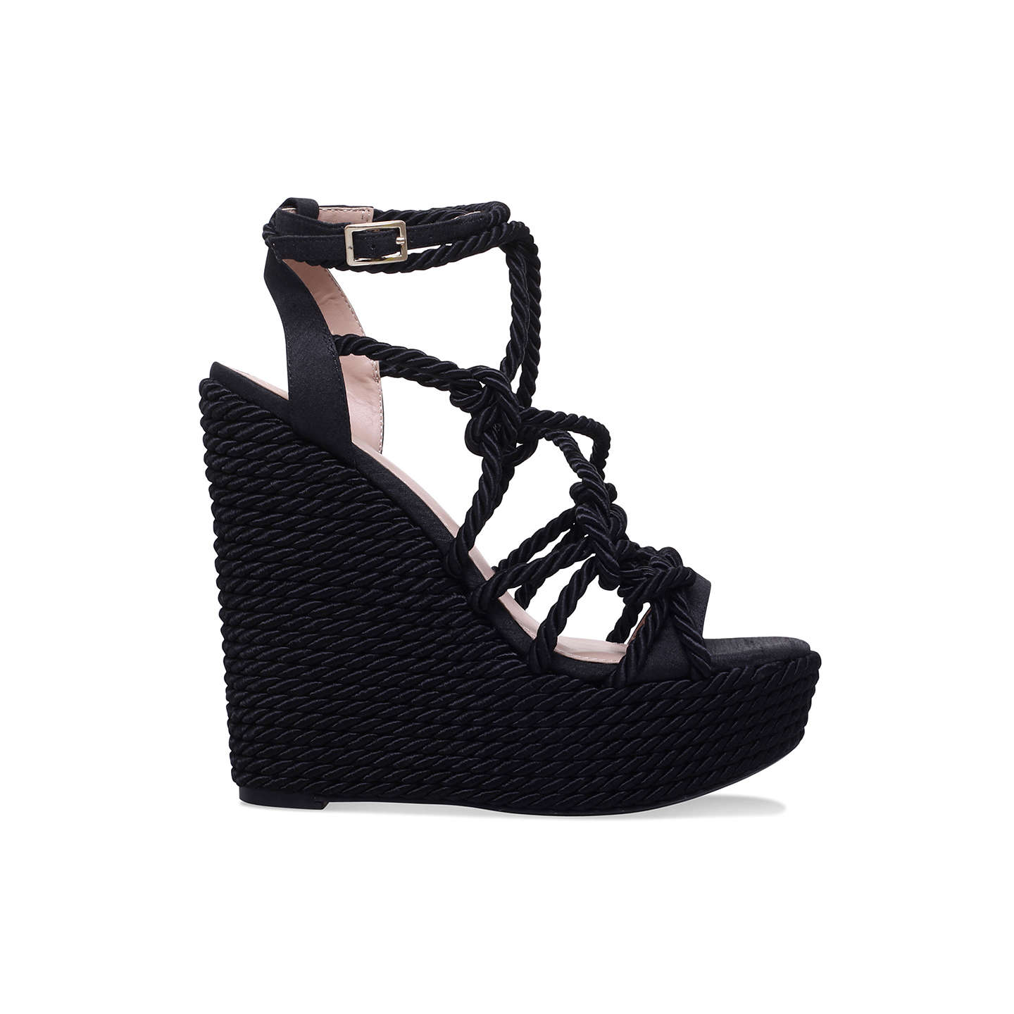 BuyKG by Kurt Geiger Notty Strap Wedge Sandals, Black, 3 Online at johnlewis.com