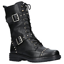 Buy KG by Kurt Geiger Sting Flat Leather Biker Boots, Black Online at johnlewis.com