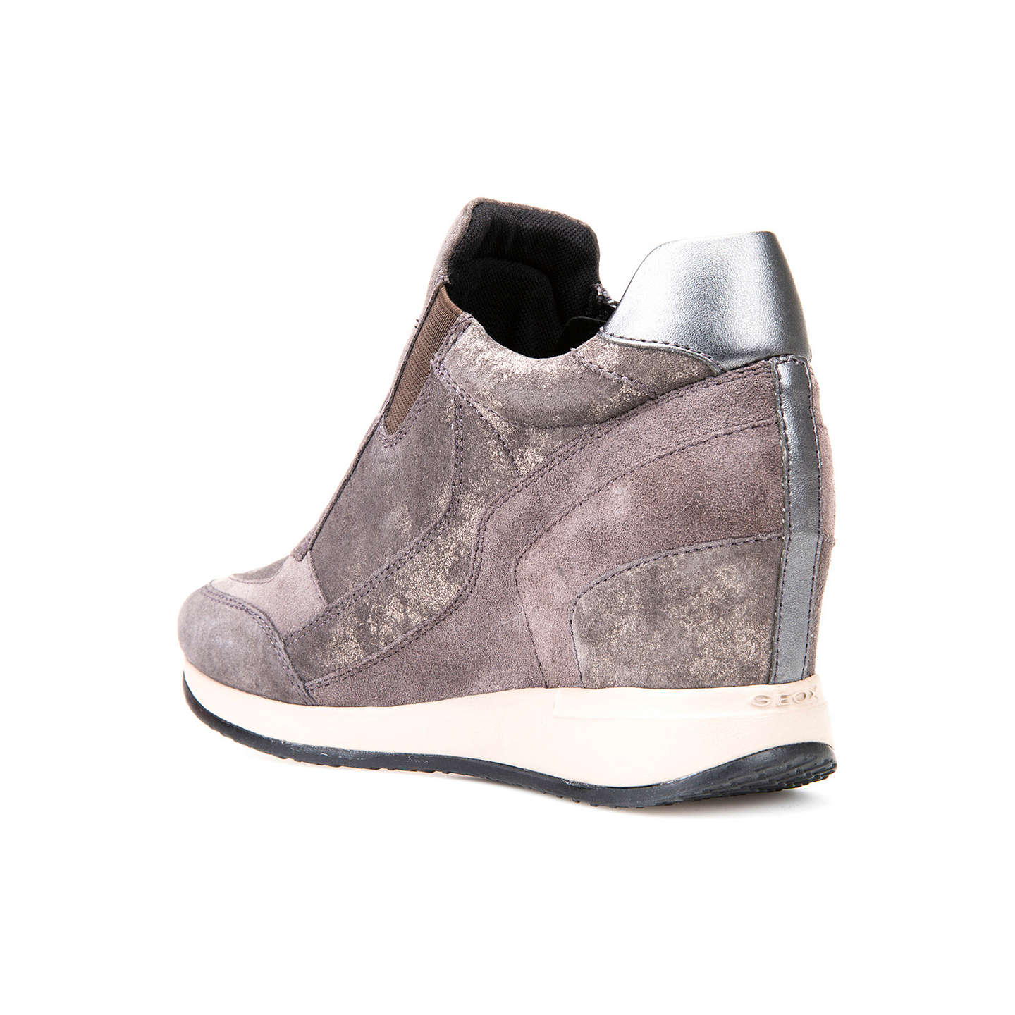 BuyGeox Nydame Wedge Heeled Zip Up Trainers, Dark Grey, 7 Online at johnlewis.com