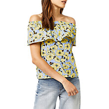 Buy Warehouse Buttercup Bardot Ruffle Top, Blue Stripe Online at johnlewis.com