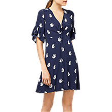Buy Warehouse Pattern Swan Print Dress, Blue Online at johnlewis.com