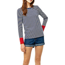 Buy Warehouse Stripe Contrast Cuff Top Online at johnlewis.com