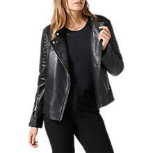 Buy Jigsaw Washed Biker Jacket, Black Online at johnlewis.com