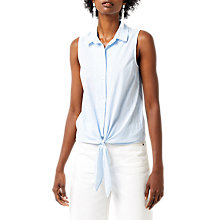 Buy Warehouse Seersucker Sleeveless Shirt, Blue Stripe Online at johnlewis.com