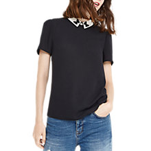 Buy Oasis Embroidered Collar Butterfly Top, Black Online at johnlewis.com