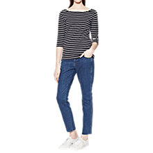 Buy French Connection Eso Tim Tim Stripe Top, Utility Blue/Winter White Online at johnlewis.com
