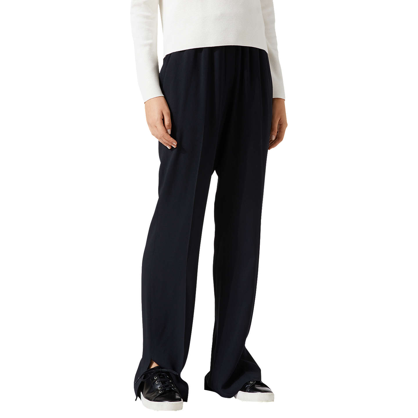 BuyJigsaw Crepe Relaxed Parallel Trousers, Black, 6 Online at johnlewis.com