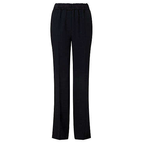 Buy Jigsaw Crepe Relaxed Parallel Trousers, Black Online at johnlewis.com