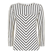 Buy Jaeger Cotton Contrast Stripe Top, Ivory/Black Online at johnlewis.com