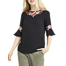 Buy Oasis Rose Trim Flute Sleeve Top, Black Online at johnlewis.com