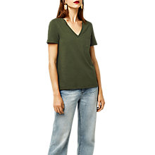 Buy Warehouse Slub V Neck T-Shirt, Khaki Online at johnlewis.com