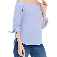 Buy Oasis Ticking Stripe Frill Bardot Top, Blue/White Online at johnlewis.com