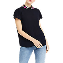 Buy Oasis Embellished Collar T-Shirt, Navy Online at johnlewis.com