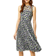 Buy Warehouse Printed Pleated Midi Dress, Multi Online at johnlewis.com