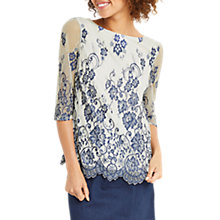 Buy Oasis Lace Flute Sleeve Top, Multi Blue Online at johnlewis.com