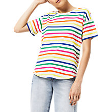 Buy Warehouse Rainbow Stripe T-Shirt, Multi Online at johnlewis.com