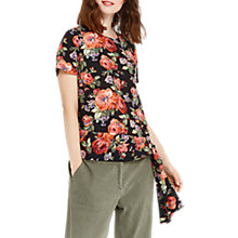 Buy Oasis Rose Tie T-Shirt, Multi Black Online at johnlewis.com