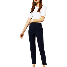 Buy Warehouse Textured Slim Leg Trousers, Navy Online at johnlewis.com