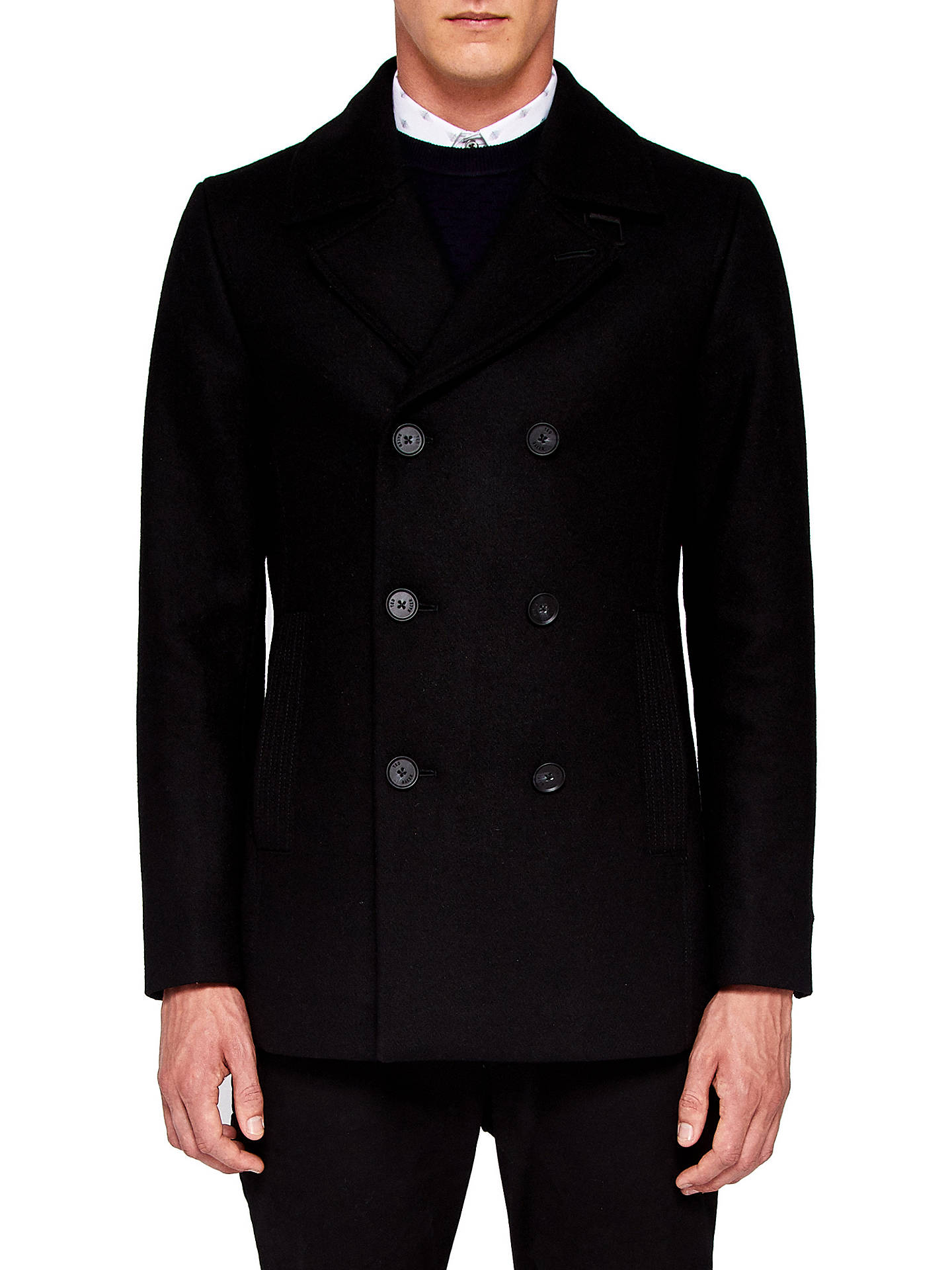 TED BAKER Mens BLACK WOOL PEA COAT 44 46 Long Size XXL WORN ONCE JACKET