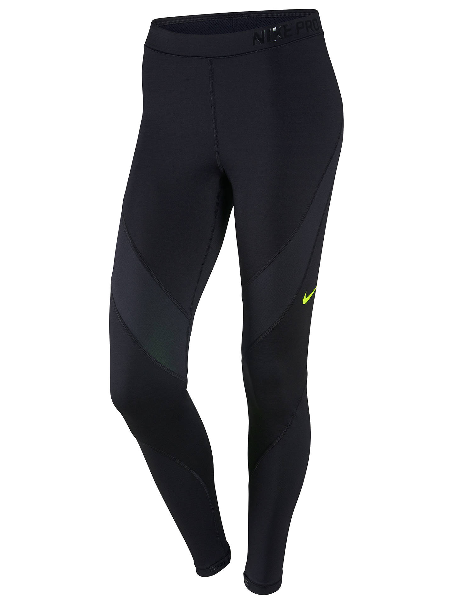 biggest discount better online store Nike Pro Hyperwarm Training Tights, Black/Volt at John Lewis ...