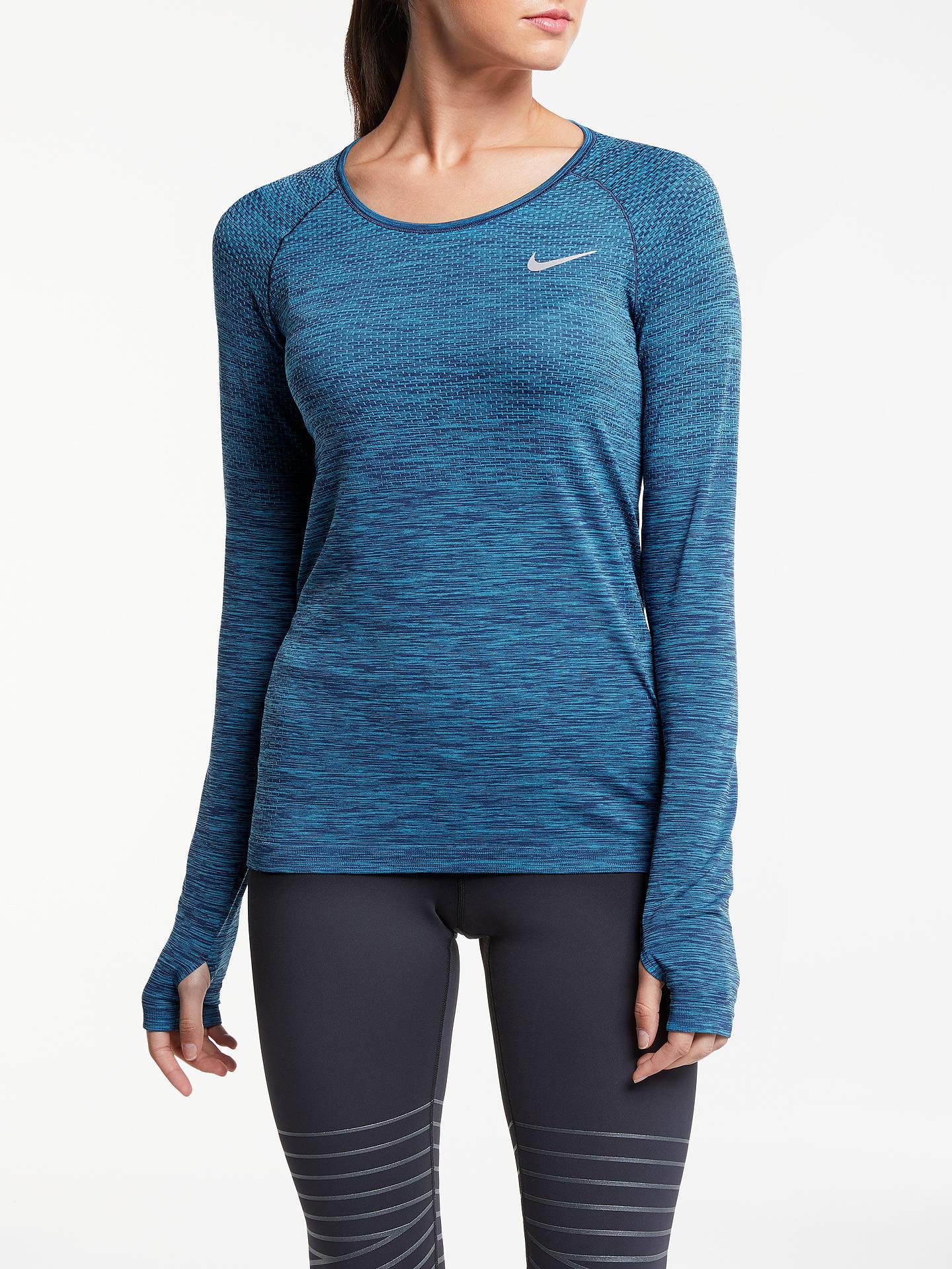 0d53c4153 Buy Nike Dri-FIT Knit Long Sleeve Running Top, Binary Blue/Light Blue ...