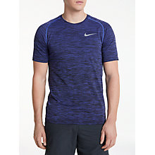 Buy Nike Dri-FIT Knit Short Sleeve Running T-Shirt, Purple Comet/Black Online at johnlewis.com