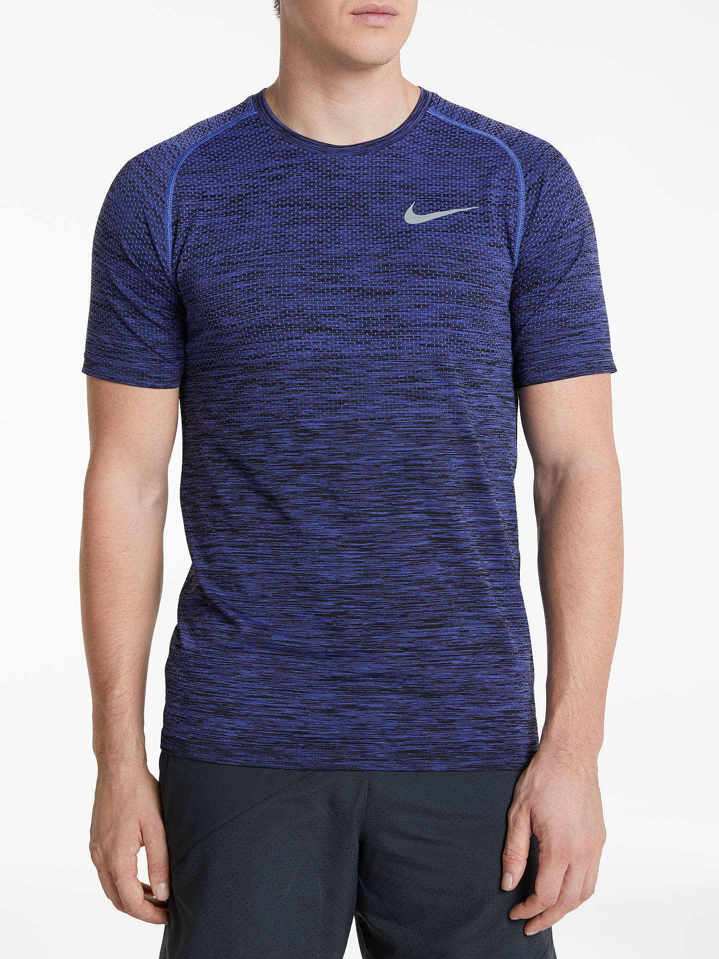f41a59d6 Nike Dri-FIT Knit Short Sleeve Running T-Shirt, Purple Comet/Black ...